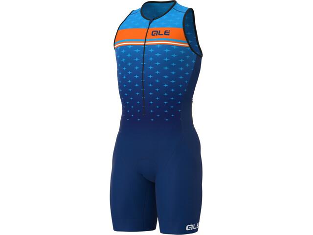 Alé Cycling Stars SL Triathlon Skinsuit Long Men, blue/fluo orange